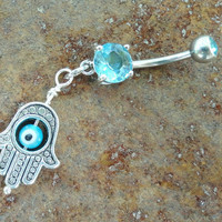 Aqua Evil Eye Belly Button Ring, Hand of Fatima Belly Jewelry Hamsa
