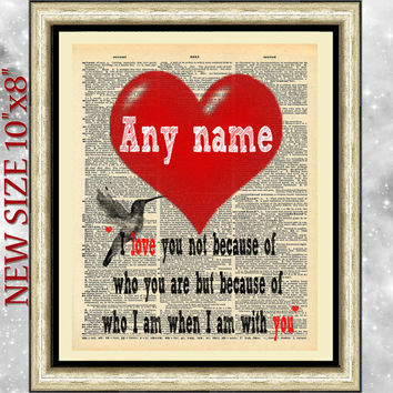 Art print on antique dictionary book page. Personalized love quotation. Wall hanging bird and love. Artwork on vintage book page. Heart gift