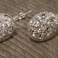 Druzy earrings-  Silver drusy silver tone dangle druzy earrings