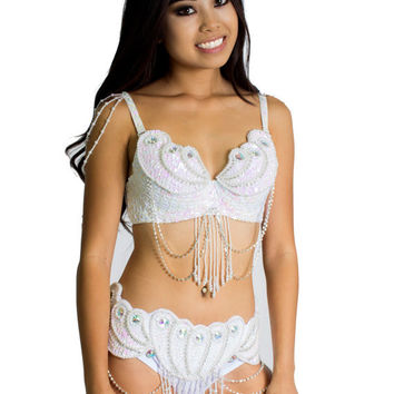 White Mermaid Inspired Carnival Bra and Belt Set