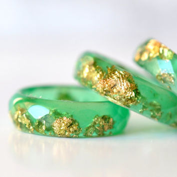 Green Faceted Ring with Gold Flakes - Thin Faceted Band Ring - Resin Stacking Ring - Minimal Resin Jewelry