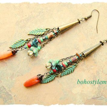 Boho Style Nature Inspired Earrings, Long Unakite Earrings, Rustic Bohemian Earrings, bohostyleme, Kaye Kraus