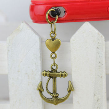 3.5mm Retro Bronze Anchor Dust-proof Plug  for iphone 4s,iPhone 4,iPhone 3gs,iPod Touch 4,HTC,Nokai,Samsung,Sony