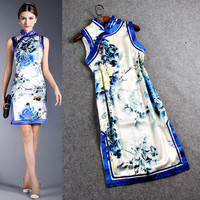 Stand Up Collar Sleeveless Printed A-Line Dress
