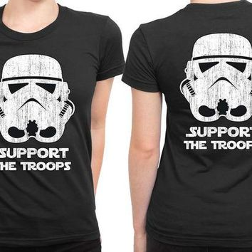 DCCKG72 Star Wars Support The Troops 2 Sided Womens T Shirt