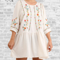 Drop Waist Embroidered Dress - Cream