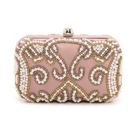 Santi Pearl Embroidered Box Clutch