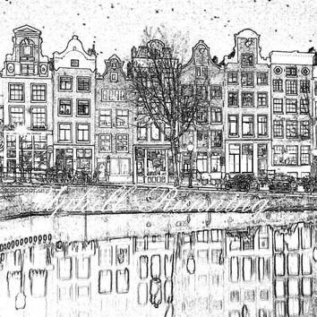 """Amsterdam canal houses, Amsterdam by night, printable home decor, digital wall art  8x10"""", 300 dpi, JPG, Instant Download"""