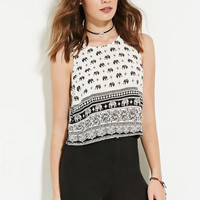 Summer Casual Crop Tops Sleeveless Camisole Elephant Pattern Print Tank Top = 4768815044