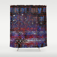 4th of July Fireworks Abstract Shower Curtain by Blooming Vine Design