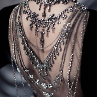 Stunning Rhinestone Multichain Shoulder Collar - Made to Order in Italy