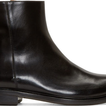 Paul Smith Black Italian Leather Zipper Mens Boots