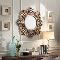 Stylish Wall Mirror Earthly Rust Tone Roccoco Burnished Frame Home Decor Bronze
