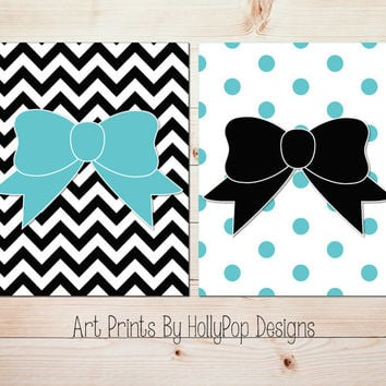 Modern Girls Room Decor Baby Girl Nursery Decor Aqua Black Chevron Wall Art Polka Dots and Bows Set of 2 Prints Kids room Wall Art #0608