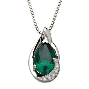 Sterling Silver .01 cttw Diamond and Lab-Created Emerald 18-Inch Chain Pear-Shape Pendant Necklace