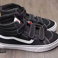 """VANS"" Unisex Classic Casual Fashion Stripe High Help Velcro Plate Shoes Couple Sneakers"