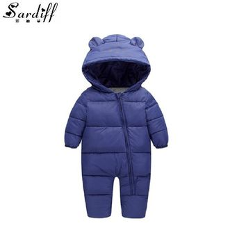 Sardiff 2017 Chirldren's Clothing Girl Boys Cotton Down Jackets Snowsuit Girls Newborn Hood Clothes Snow Suits Infant Outwear