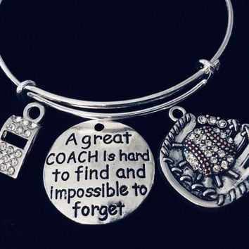 Great Coach Gift Whistle Crystal Baseball Jewelry Mitt Adjustable Bracelet Silver Expandable Bangle Sports Team One Size Fits All Gift