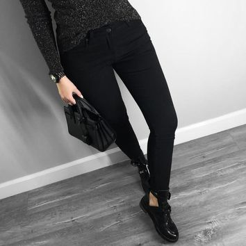 high quality women jeans skinny basic style casual solid color denim pants Slim stretch jeans