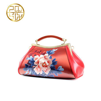 Embroidery Chinese Bag Cowhide Leather Handbag Bags Retro Luxury Handbags Women Bags Designer Art Bolsa Dinner Women Hand Bag