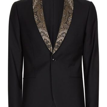 Black Contrast Gold Lapel Skinny Fit Tuxedo Jacket - Blazers - Clothing