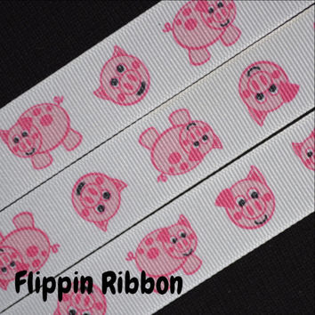 Pink Piggy Ribbon, 4 Yards, 7/8 inch Grosgrain