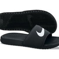 Nike Men's Benassi Swoosh Slide Sandal (12 D(M) US, Black)