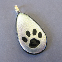 Paw Print Pendant, Etched Silver Dichroic PawPrint - Tracker - 335