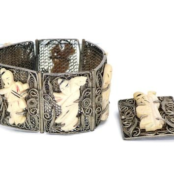 Antique Chinese Export Carved Bovine Bone Silver Filigree Bracelet and Pin