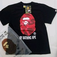 cc spbest A Bathing Ape Big Head Ape Black Shirt Red Camo