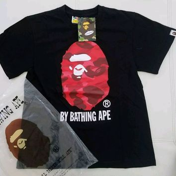 cc hcxx A Bathing Ape Big Head Ape Black Shirt Red Camo