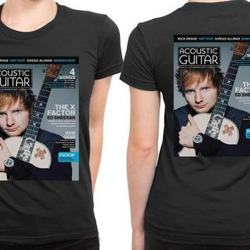DCCKL83 Ed Sheeran Magazine 2 Sided Womens T Shirt