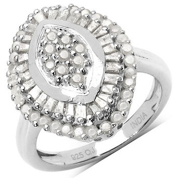 1.07 Carat Genuine White Diamond .925 Sterling Silver Ring