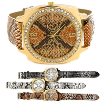 In Style Crystal Accent Snake Design Women's Fashion Watch