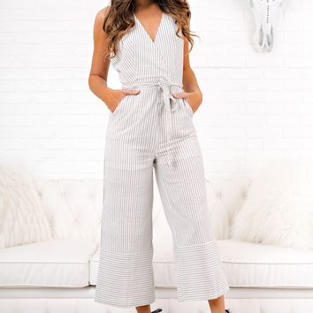 Talia Striped Jumpsuit (Grey)