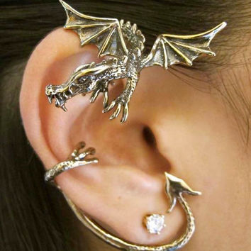 Game of Thrones Inspired Guardian Dragon Ear Wrap Bronze Non Pierced Ear Wrap Ear Cuff