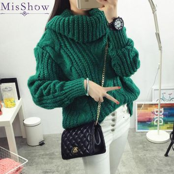 In stock Women Winter Sweaters and Pullovers Turtleneck Sweater Oversized Thicken Warm Twist Knitted Sweater pullover Pull Femme