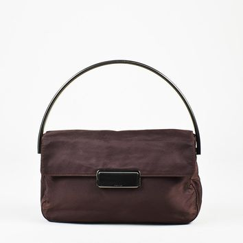 Prada Purple Nylon Metal Handle Flap Bag