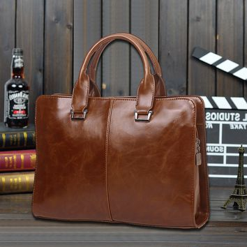 Men's Brown Leather 13 Inch Laptop Bag Crossbody Shoulder Handbag Briefcase