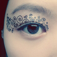 1 Pair of Temporary Tattoo Transfer Stickers for Eyes Eyelids Black Spiral Curve Eye Laced for Prom Festival Masquerade Clubbing Party