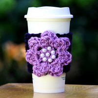 Navy Blue with Lavender Flower Cup Cozy