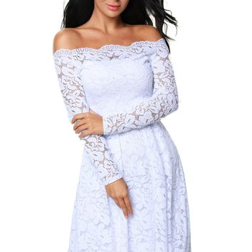 White Long Sleeve Floral Lace Boat Neck Cocktail Swing Dress