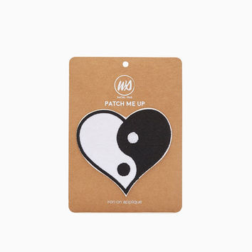 Yin & Yang Heart Iron On Patch | Wet Seal