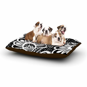 "Petit Griffin ""Floral Lace BW"" Abstract Modern Dog Bed"