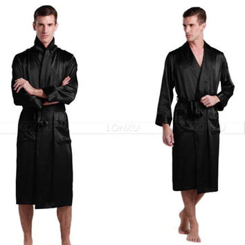 Mens Silk  Satin Pajamas Pajama Pyjamas  Robe  Robes  Bathrobe   Nightgown  Loungewear