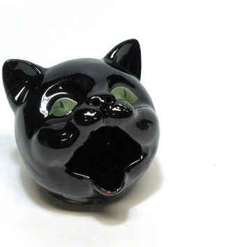 Vintage redware black cat ashtray - open mouth - green eyes - retro kitsch cat head - novelty cat ashtray
