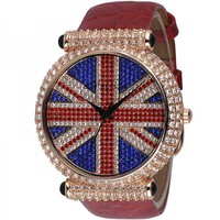Union Jack Diamond-studded Ladies Watch
