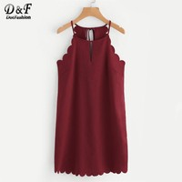 Double Keyhole Scallop Edge Tunic Dress Sleeveless Short Woman Dress Cut Out Halter Plain Shift Dress