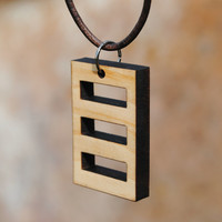 Rectangle Laser Cut Wooden Necklace Pendant Geometric Statement Jewelry