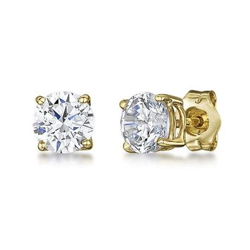 18k IP Gold Plated Stainless Steel Silver Iced Out Round Clear CZ Stud Earrings 692643031109